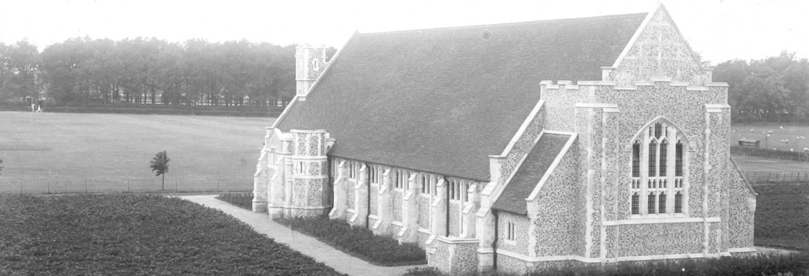 The Chapel in 1917 showing rows of potatoes planted as part of the war effort